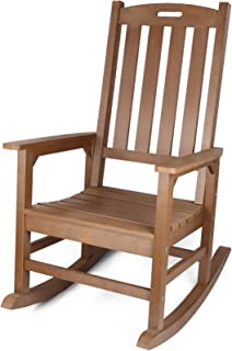 Outdoor Rocking Chair, Poly Lumber Patio Porch Rocker Chair Supports up to 350 lbs, Brown
