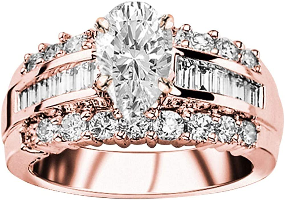 Max 57% OFF 3 2021 spring and summer new Ctw 14K White Gold Designer Baguette Thick and Channel Set Rou