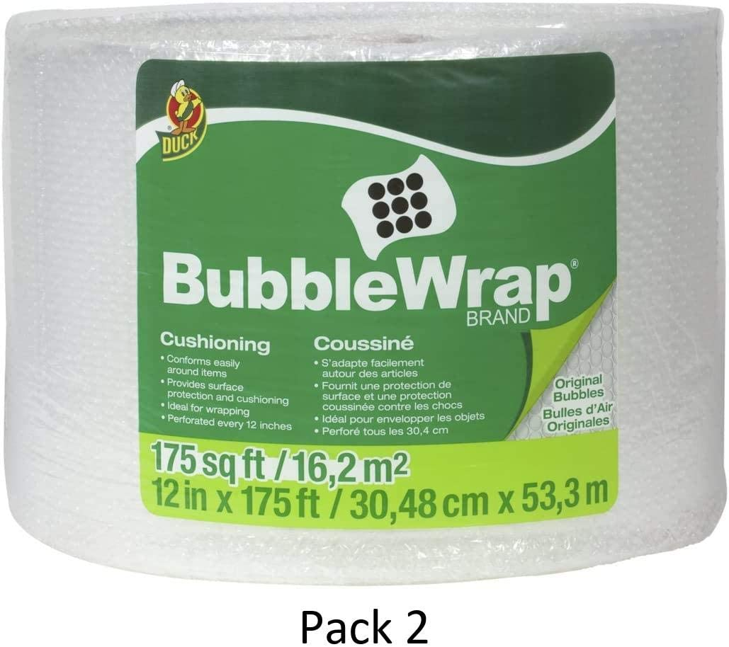 1053440 Original Bubble Cushioning 12 x 175 Perforated Every 12 Duck Brand Bubble Wrap Roll Clear 2 Pack