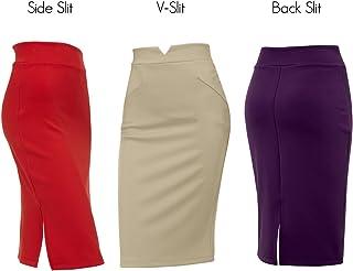 Regna X Womensストレッチ作業着にオフィス鉛筆フィットスカートプラスサイズ使用可能