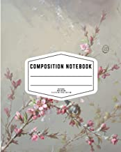 Light Blue Floral Composition Notebook with Birds: Beautiful Wide College Ruled Workbook for Kids Girls, Boys, Students, T...