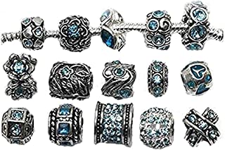 Ten (10) of Assorted Shades of Color Rhinestones Beads (Styles You Will Receive are Shown in Picture Random 10 Beads Mix) Charms for Snake Chain Charm Bracelet