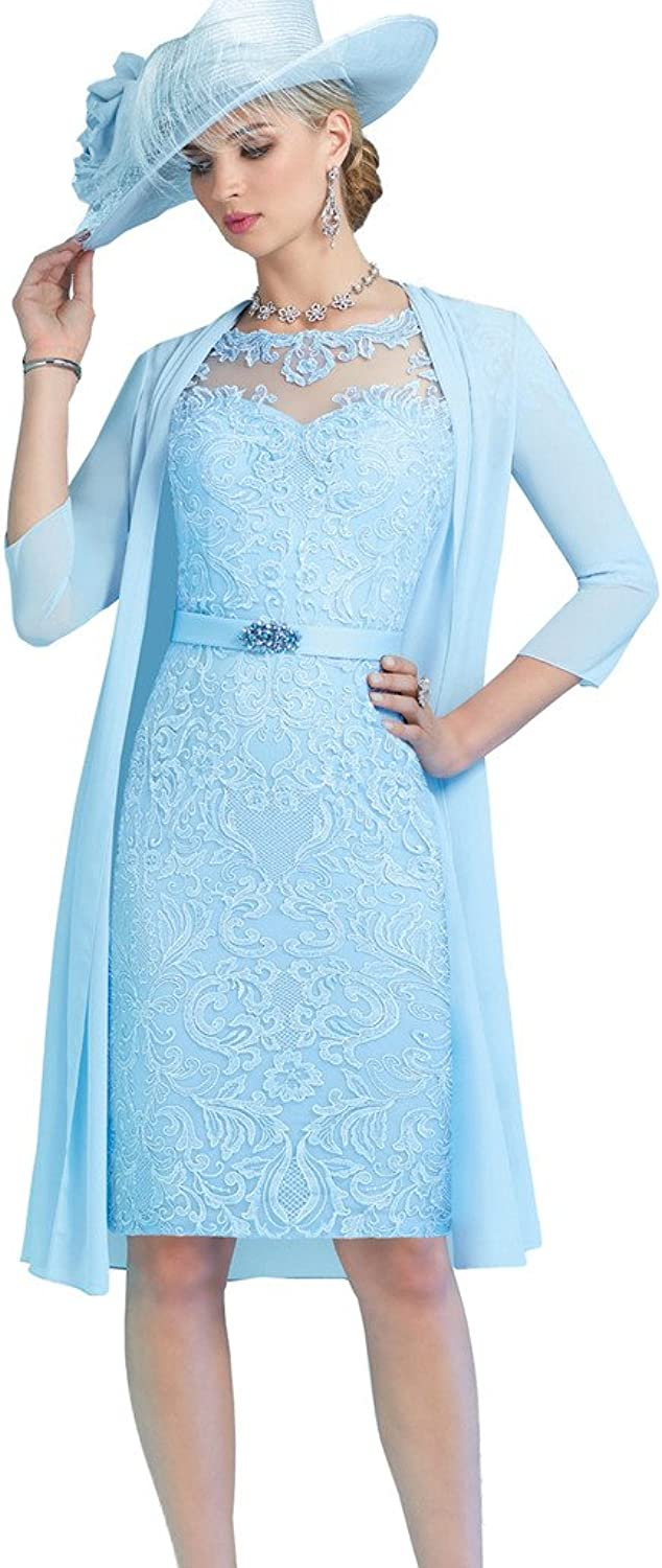 Kelaixiang bluee Bridal Mother Dress Knee Length Lace for Wedding with Coat