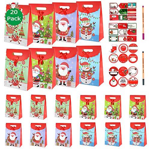 SPECOOL 20 pcs Bolsas de Regalo Navidad, Bolsas de Papel para Regalos en 4 diseños con bolígrafo DIY, Etiquetas Pegatinas para los favores de la Fiesta de Navidad (Santa Claus)