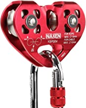 NAXEN Zip Line Pulley Tandem Speed Dual Trolley with 25kN Carabiner