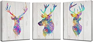 Biuteawal - Animal Deer Decor Canvas Prints Elk Head Stag Silhouette Wall Art Painting 3 Pieces Abstract Artwork for Home Office Living Room Bedroom Wall Decor Framed Ready to Hang