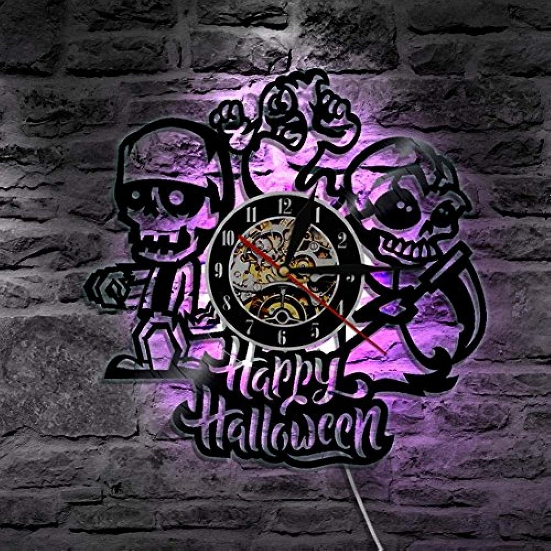 GuoEY 12 Glücklich Halloween LED Vinyl Mauer Uhr Licht Beleuchtung Farbe Vernderung Jahrgang LP Handarbeit Kunst GeSchnk Dekor Lampe Fernbedienung Steuerung