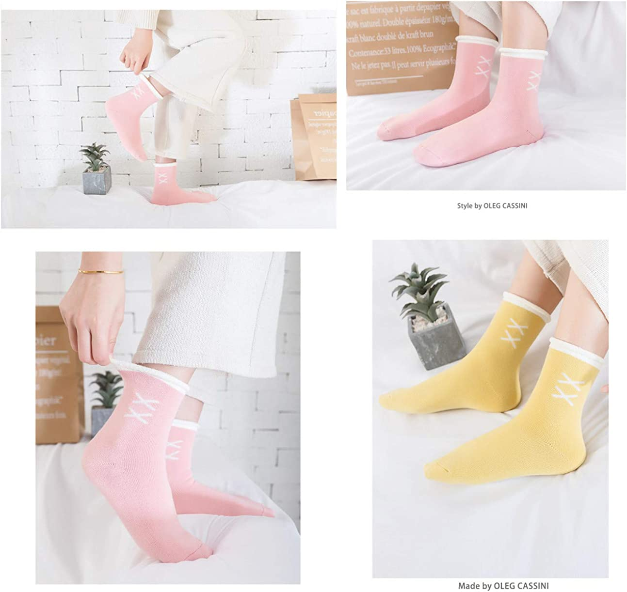 5 Pack Pile Heap Socks for Women Winter Warm Knitted Shiny Leg Warmer Boot Socks