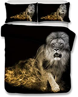 RUZHENG 3D Animal Lion Art Pattern 2 Pillowcases 1 Quilt Cover 4 Sizes Bed Linen Printed Quilt Cover Set Polyester