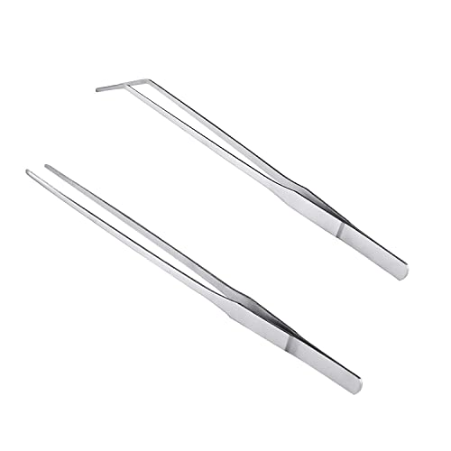12//pak 7L Tweezers Curved Tips and Finger serations Stainless Steel