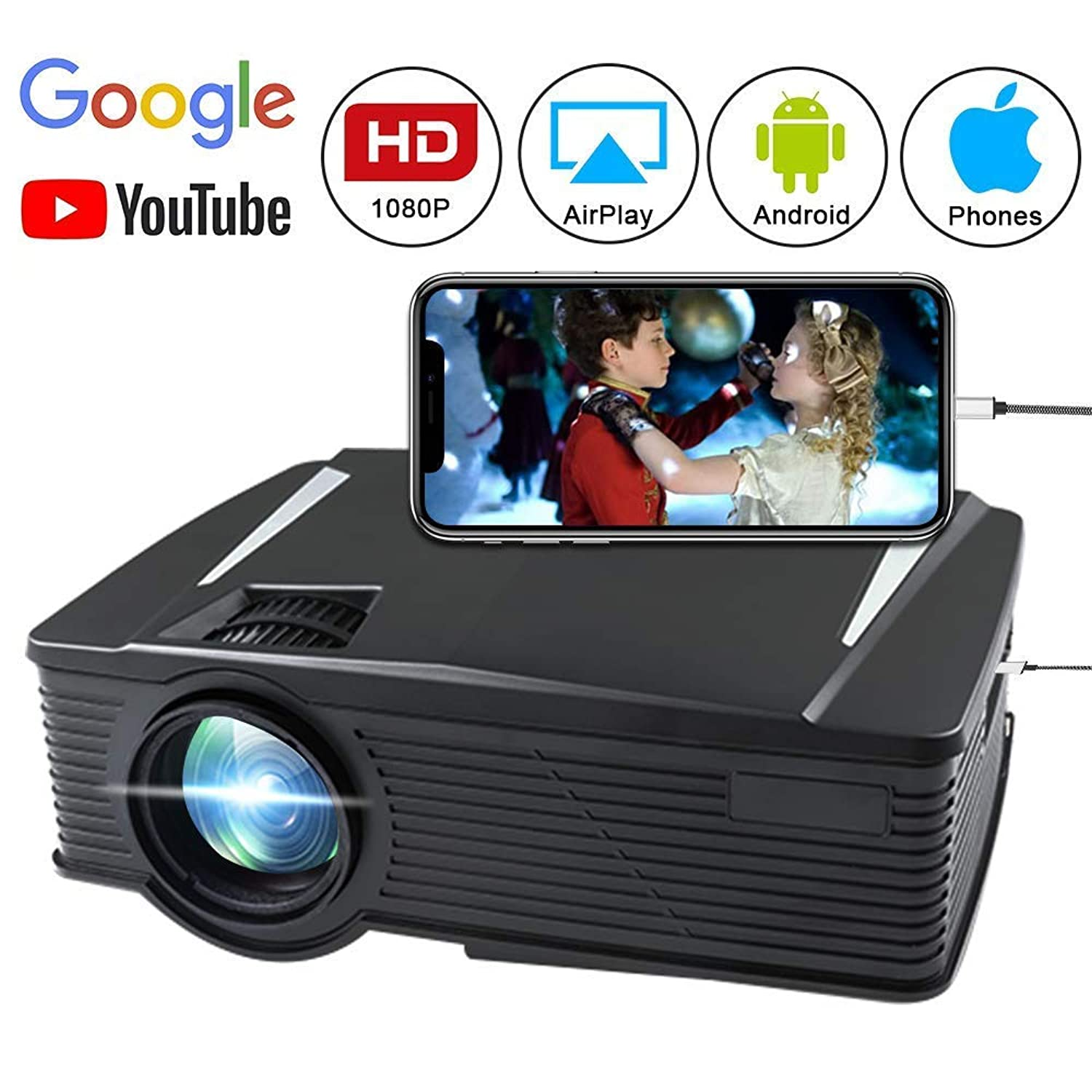 Porjector,Home Theater Video Projector 1080P, LED LCD Mini Projector Portable Movie Projector Support HDMI, USB, SD Card, VGA, AV for Home Cinema, TV, Laptops, Game, Smartphone & iPad (White)