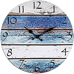 Eruner Home Decor Clock, Wall Clock 16 Arabic Numerals, Silent Non Ticking Quartz - Battery Operated, Vintage Shabby Beachy Ocean Paint Boards Wooden Round Home Decoration Wall Clock(Victor Hugo)