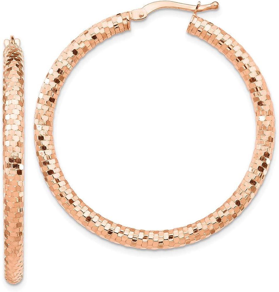 14k Rose Gold 3x30mm Diamond-cut Hoop Earrings 39.45mm 30mm style TF1704R