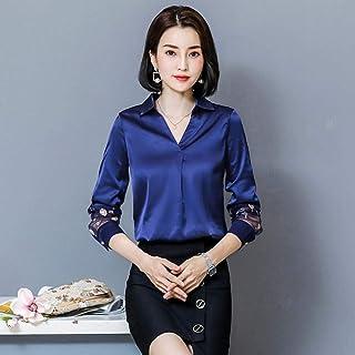 قمصان وتي شيرتات نسائية بأكمام طويلة ورقبة على شكل حرف V شيفون كاجوال OL Makfacp (اللون: أزرق، المقاس: XL)
