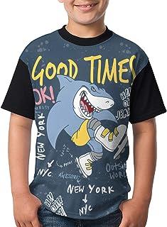 قمصان القرش المضحكة للأولاد، تي شيرت بأكمام قصيرة راجلان بيسبول للمراهقين