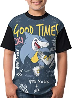 Funny Shark Shirts for Boys,T-Shirt Short Sleeve Raglan Baseball Tee for Teenager