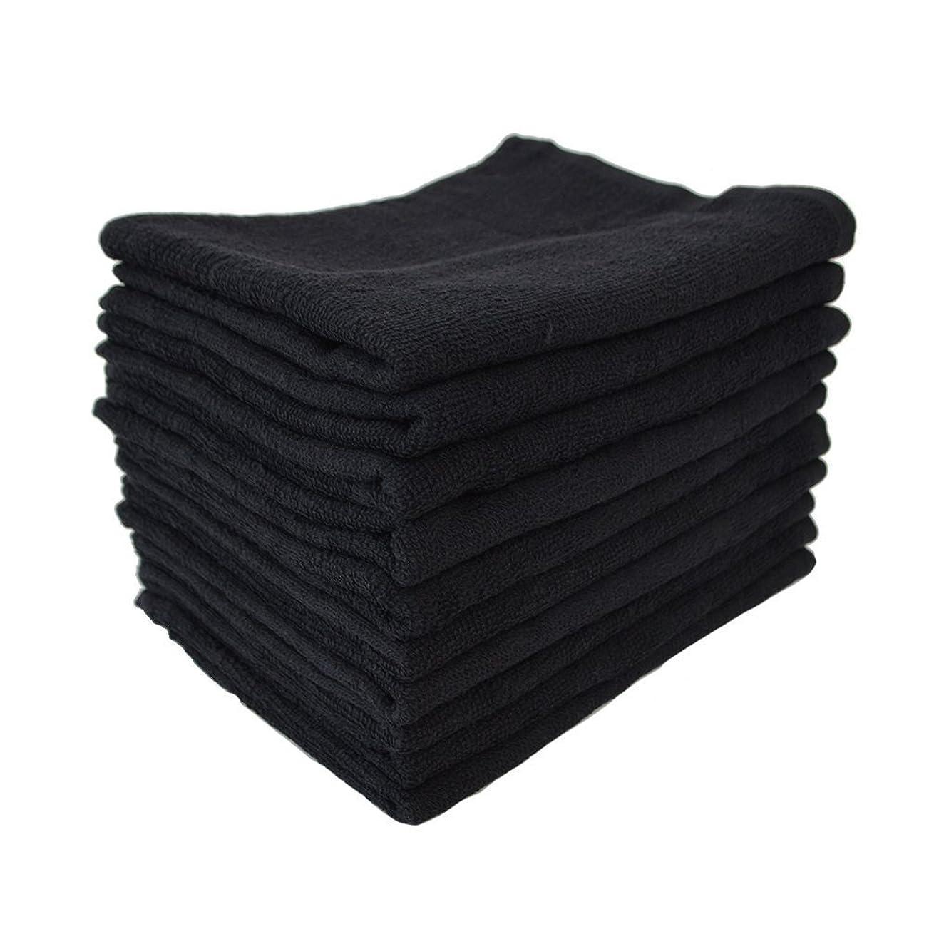 悪夢成り立つ素敵なTRANPARAN 業務用タオル フェイスタオル 220匁 スレン染め 輸入品 黒タオル プロ仕様 10枚セット