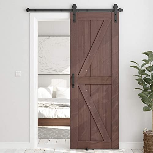 new arrival SMARTSTANDARD 30in x 84in Sliding Barn Door with 5ft Barn Door Hardware Kit & 2021 Handle, Pre-Drilled Ready to Assemble, DIY Unfinished Solid Spruce Wood Panelled Slab, K-Frame, online Coffee online sale