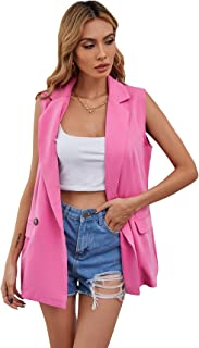 SheIn Women's Double Breasted Vest Jacket Casual Sleeveless Outerwear