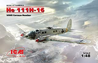 ICM 1/48 Scale He 111H-16, WWII German Bomber - WWII German Aircraft Model Building Kit # 48263