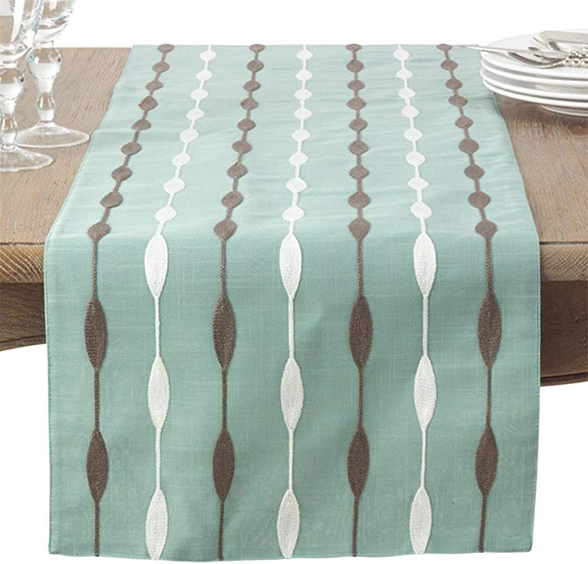 Fennco Styles Modern Embroidered Design Table Runner 2 Color Aqua