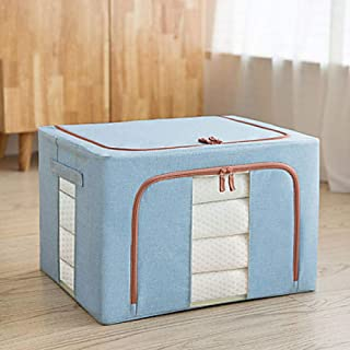 Cotton linen clothes storage box fabric clothing storage box large folding wardrobe storage box storage box moving artifact@Light Blue