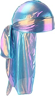 Lovoski Women Mens Shiny Long Tail Silky Bandana Turban Hat Durag Headwear Chemo Cap