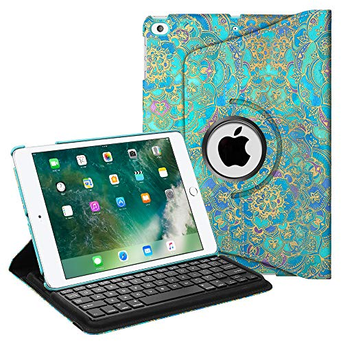 Fintie Keyboard Case for iPad 9.7 inch 2018 2017 / iPad Air 2 / iPad Air - 360 Degree Rotating Stand Cover with Built-in Wireless Bluetooth Keyboard for iPad 9.7 (6th Gen/5th Gen), Shades of Blue