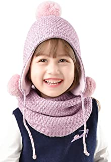 Girls Winter Hat Scarf Kids Toddler Artist French Beret Knitted Beanie Christmas (Aged 2-8)