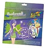 folia 41201 - Schablonenbuch Zauberwelt, Block mit 36 Malvorlagen, 5 Schablonen und 1 Stickerbögen - ideal für Mädchen