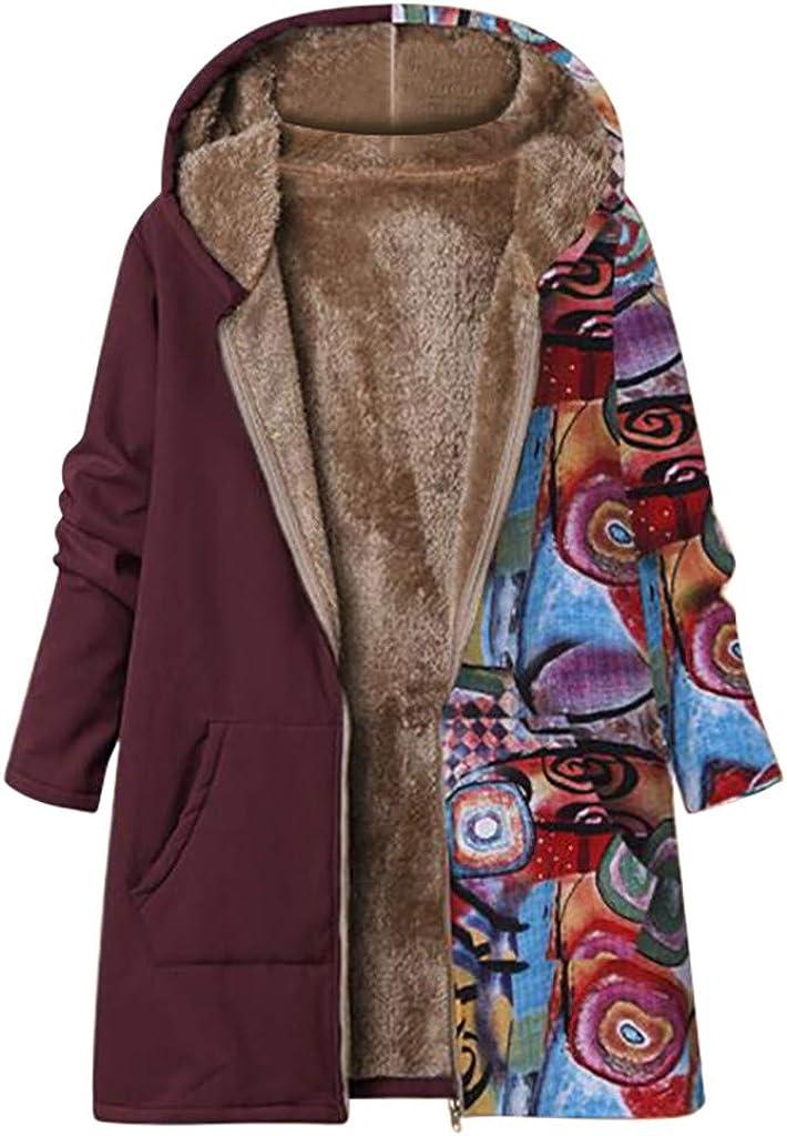 RUIVE Women's Plus Size Coats Warm Winter Casual Pattern Print Outdoor Snow Overcoat Artificial Wool Jackets