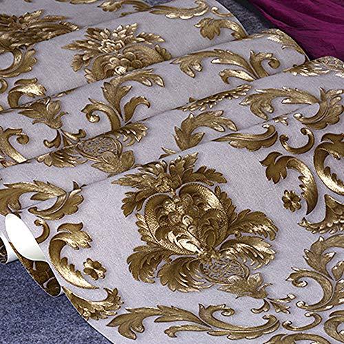 Telihome Gold Strukturiertes Vinyl Tapeten Für Wohnzimmer Wohnkultur 3D Luxus Tapetenbahn Gestreiften Damast Wandverkleidung,A,0.53 * 10M