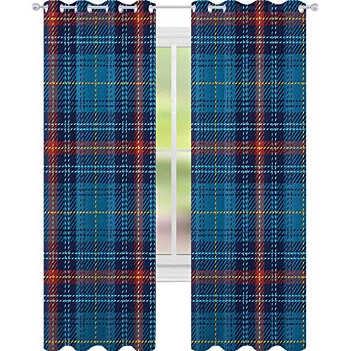 YUAZHOQI Checkered Curtains for Living Room Cultural Pattern with Thin Lines Irish Traditional Design in Blue Colors Waterproof Window Curtain 52' x 84' Blue Navy Blue Red
