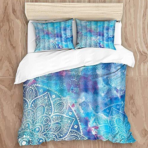 Juego de funda nórdica de 3 piezas de fácil cuidado y 2 fundas de almohada, mandala azul acuarela floral retro Tribe Ombre Art Print bohemio, elegante funda de edredón de microfibra de calidad de lujo