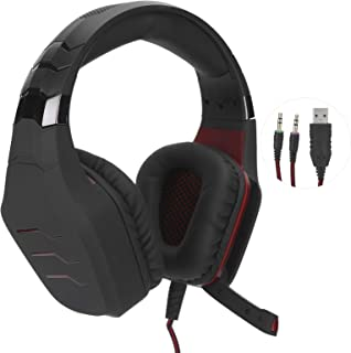 $35 » Bindpo Gaming Headset, LED Light-Up Headphone USB 3.5mm Head-Mounted Earphone with Microphone for Playing Games, Listening...