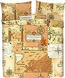 LARA MORADA Set Completo Letto Lenzuola 100% Cotone Stampato Dis Mappa (Beige, Matrimoniale)