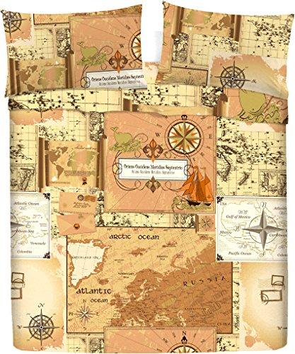 LARA MORADA Set Completo Letto Lenzuola 100% Cotone Stampato Disegno Mappa (Beige, Matrimoniale)