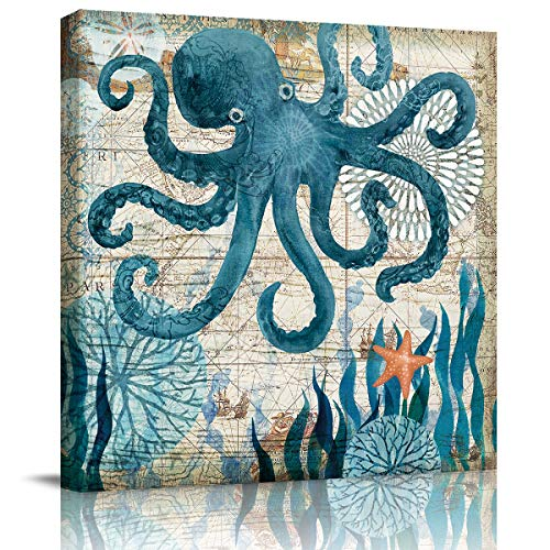 Square Oil Painting Pictures Print On Canvas, Watercolor Sea Animal Octopus Ocean Monster Abstract Print Artwork with Framed Ready to Hang, Living Room Kitchen Corridor Bedroom Office Decor 12x12in