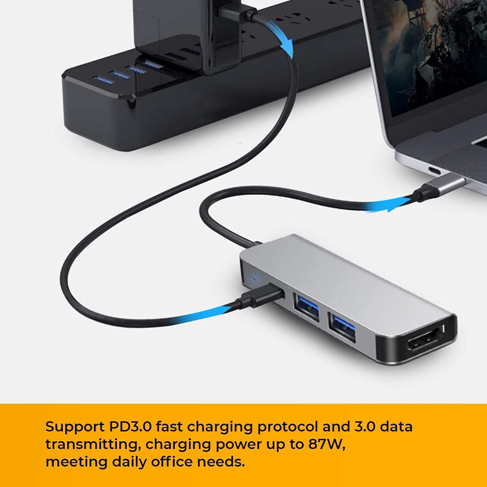 Multi USB HUB, HILZO 4 in 1 Portable USB Type C Hub with Powder Delivery USB Type-C (87W PD), 4K HDMI (30Hz) Output, 3 USB-A (3.0) Ports; Compatible for MacBook Pro, XPS More Type C & Thunderbolts