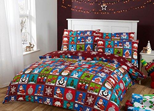 Set copripiumino in 100% cotone, motivo patchwork con soggetti natalizi, Red, Single (138x198cm) + 1 Pillow Case (45x75cm)