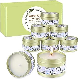 Aottom 8 Pièces Bougie Citronnelles Extérieur & Intérieur, 100% Cire de Soja Naturel Bougies au Citron pour Jardin, Terras...