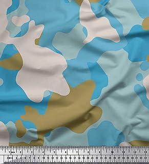1dda32bee4b4 Soimoi Marrón Jersey de algodon Tela multicolor camuflaje tela estampada de  1 metro 58 Pulgadas de