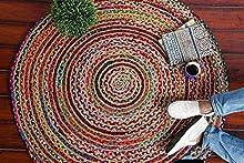 IMPEXART PVT LTD Alfombra Chindi Alfombra Redonda Hecha a Mano de Yute Natural 90X90cm Alfombra Tejida de Yute para Sala de Estar Alfombra Decorativa Reversible 100% orgánica