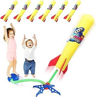 پرتاب موشک Duckura Jump برای کودکان ، اسباب بازی های موشکی در فضای باز با پرتاب و 6 موشک فوم ، بهترین هدیه برای کودکان نوپای دختران پسر 3 سال به بالا