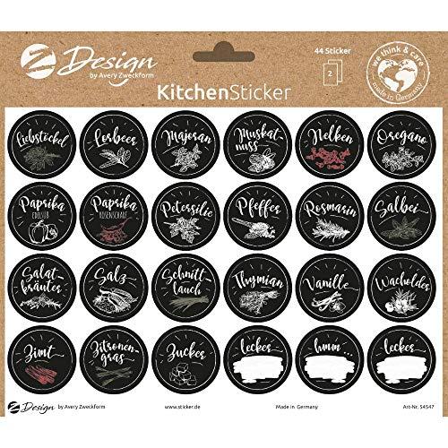 AVERY Zweckform 54547 Gewürzaufkleber 48 Stück (Sticker auf A5 Bogen, Etiketten für Küche, Gewürze, Gewürzbeschriftung, Gewürzregal, Klebeetiketten ölabweisend abwischbar wasserfest)