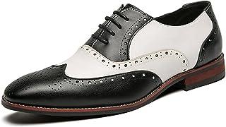 Zapatos Oxford para Hombre, Elegantes, Puntiagudos, Brogue, Patchwork, Zapatos de Cuero Transpirables, Zapatos Formales Li...
