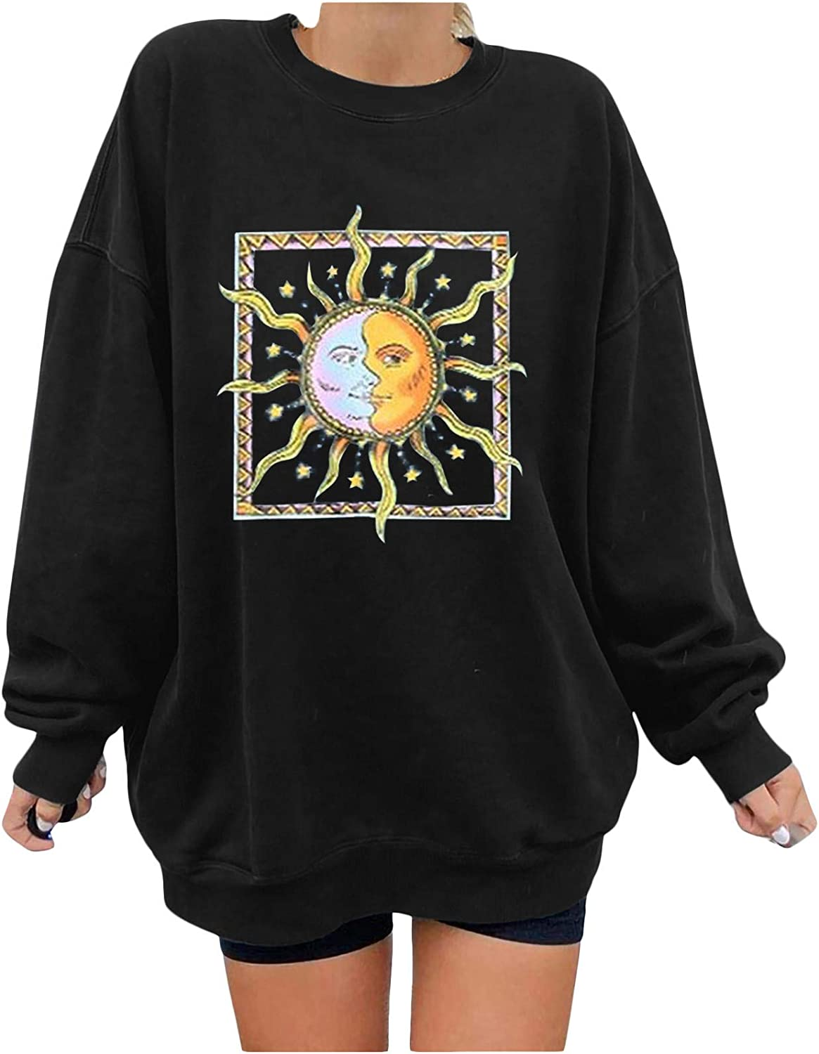 MASZONE Crewneck Sweatshirts for Women Graphic Sun and Moon Print Crewneck Pullover Plus Size Long Sleeve Blouses Tops