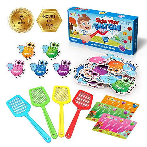 Shemira Sight Word Swat Game Sight Word Educational Toy For Age of 34567YearOld Boys amp Girls Homeschool Phonics Literacy Learning Games For Kids Visual Tactile and Auditory Learning248pcs