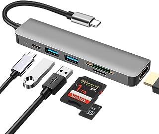 USB C Hub multiportadapter, DEMKICO 6-i-1 USB typ c hubb med 4K HDMI, SD/TF-kortläsare, USB 3.0 och USB 2.0-port, 100 W st...