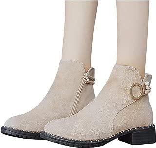 TianWlio Women Side Zipper Booties Suqare Heels Round Toe Work Shoes Walking Driving Loafers Low Top Outdoor Flats